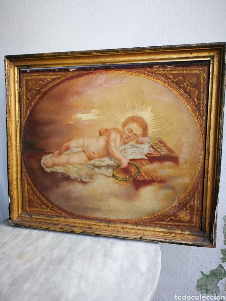 Arte: ANTIGUO ÓLEO SOBRE TELA NIÑO JESÚS (INRI), S.XIX. ENMARCADO, 58X49CM. - Foto 14 - 241886495