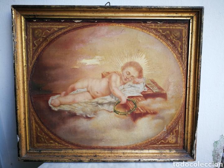 ANTIGUO ÓLEO SOBRE TELA NIÑO JESÚS (INRI), S.XIX. ENMARCADO, 58X49CM. (Arte - Arte Religioso - Pintura Religiosa - Oleo)