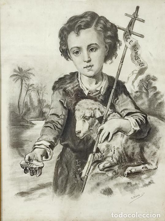 Arte: Precioso Dibujo al Carbón - El Buen Pastor - Firma R, Marcó - Foto 2 - 242029740
