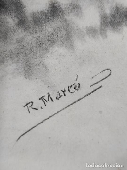 Arte: Precioso Dibujo al Carbón - El Buen Pastor - Firma R, Marcó - Foto 4 - 242029740