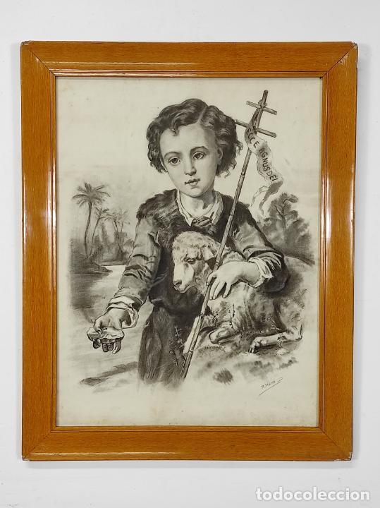 Arte: Precioso Dibujo al Carbón - El Buen Pastor - Firma R, Marcó - Foto 5 - 242029740