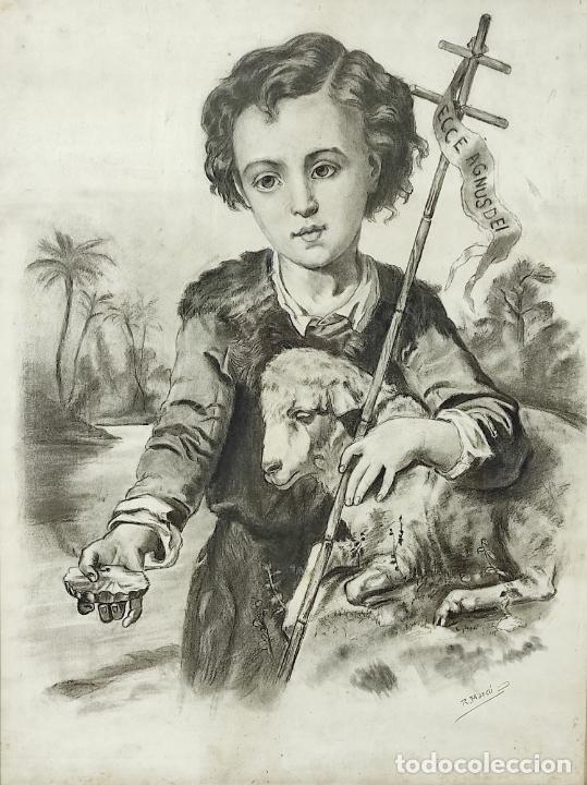 Arte: Precioso Dibujo al Carbón - El Buen Pastor - Firma R, Marcó - Foto 6 - 242029740