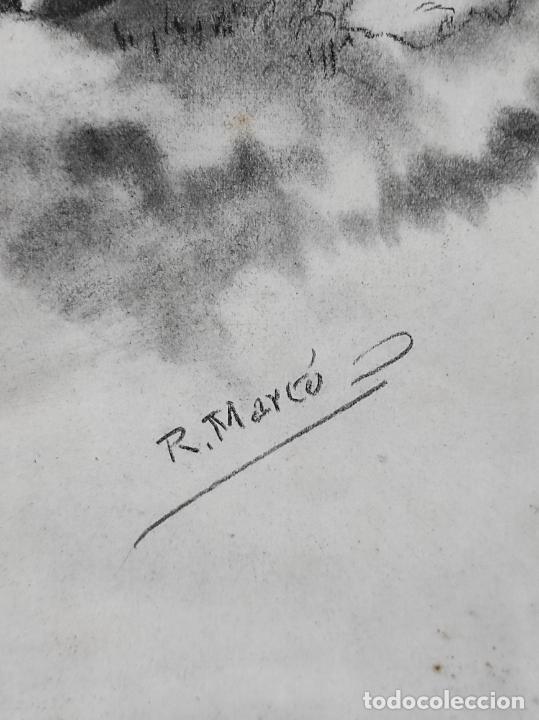 Arte: Precioso Dibujo al Carbón - El Buen Pastor - Firma R, Marcó - Foto 8 - 242029740