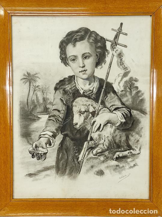 Arte: Precioso Dibujo al Carbón - El Buen Pastor - Firma R, Marcó - Foto 9 - 242029740
