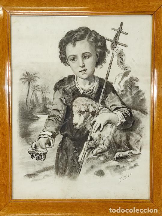 PRECIOSO DIBUJO AL CARBÓN - EL BUEN PASTOR - FIRMA R, MARCÓ (Arte - Arte Religioso - Pintura Religiosa - Otros)