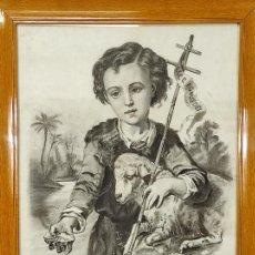 Arte: PRECIOSO DIBUJO AL CARBÓN - EL BUEN PASTOR - FIRMA R, MARCÓ. Lote 242029740
