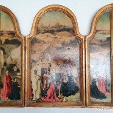 Arte: TRIPTICO, LA ADORACION DE LOS MAGOS, PINTURA DE EL BOSCO, MEDIDAS 61 X 52 CM. Lote 242115475