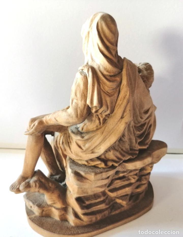 Arte: LA PIEDAD * FIGURA ESCULTURA RELIGIOSA TALLA PASTA DE MADERA * Medida ---) Altura 17 cms. - Foto 6 - 242132460
