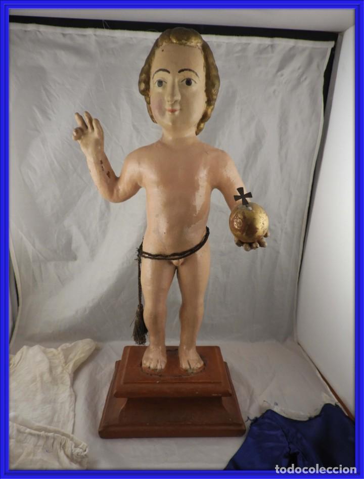 TALLA EN MADERA POLICROMADA NIÑO DE LA BOLA S. XVIII (Arte - Arte Religioso - Escultura)