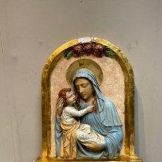Arte: RETABLO EN RELIEVE VIRGEN Y NIÑO JESÚS. Lote 242373795