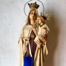Arte: GRAN FIGURA DE OLOT , VIRGEN DEL CARMEN CON EL NIÑO , MUY ANTIGUA - 54 CM DE ALTO. Lote 242382875