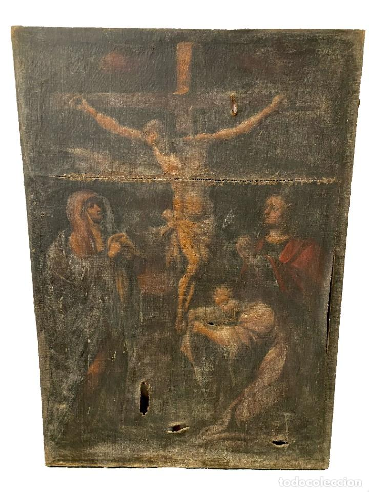 ANTIGUO ÓLEO SOBRE LIENZO, CALVARIO, PINTURA GÓTICA, PARA RESTAURAR. XV-XVI. 112X79 (Arte - Arte Religioso - Pintura Religiosa - Oleo)