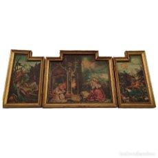 Arte: RETABLO TRÍPTICO RELIGIOSO EN MADERA. SEGUNDA MITAD S. XX.. Lote 242834040