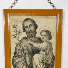 Arte: PRECIOSO DIBUJO AL CARBÓN - SAN JOSÉ CON EL NIÑO JESÚS - FIRMA R, MARCÓ. Lote 242857030