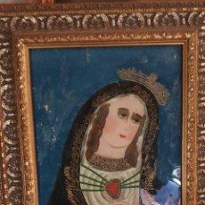 Arte: VIRGEN DOLOROSA DEL SXIX PINTADA SOBRE CRISTAL. Lote 242920970