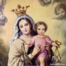 Arte: CUADRO DE VIRGEN MARIA CON NIÑO LACADO SOBRE MADERA DE 1960. Lote 243168105