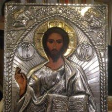 Arte: ICONO JESUCRISTO EN PLATA DE PRIMERA LEY MUY TRABAJADA, MIDE 18,5 X 23,5 CMS. FARCO EUROP. Lote 243681620