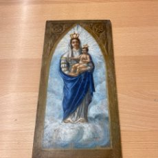 Arte: ÓLEO SOBRE TABLA VIRGEN CORONADA CON NIÑO CORONADO SIGLO XVIII. Lote 243830850