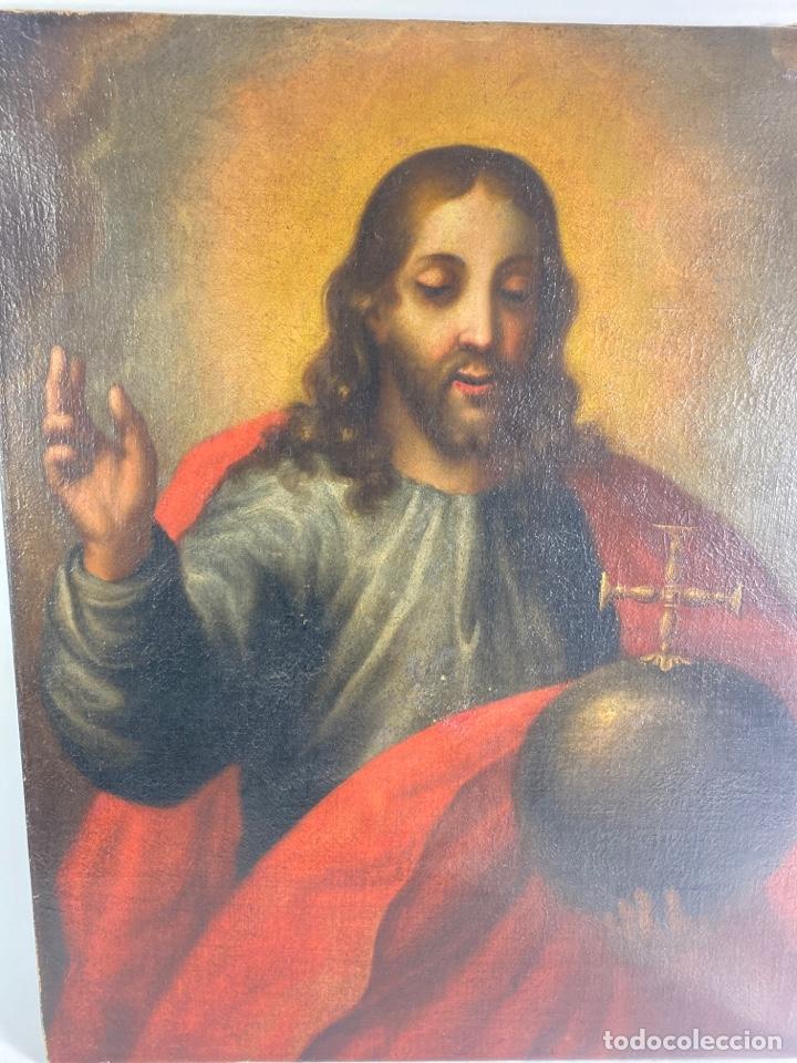 Arte: OLEO SOBRE LIENZO, JESUS SALVATOR MUNDI. S.XVIII. - Foto 2 - 243831260