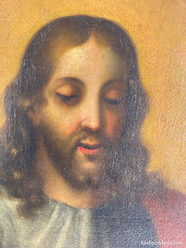 Arte: OLEO SOBRE LIENZO, JESUS SALVATOR MUNDI. S.XVIII. - Foto 3 - 243831260