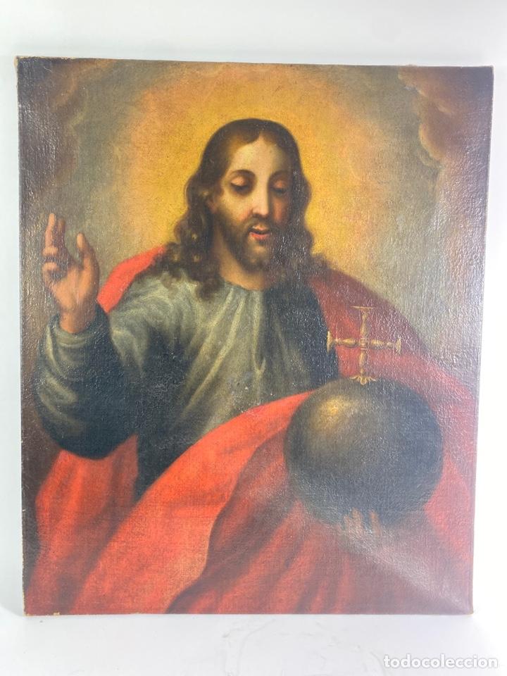 OLEO SOBRE LIENZO, JESUS SALVATOR MUNDI. S.XVIII. (Arte - Arte Religioso - Pintura Religiosa - Oleo)