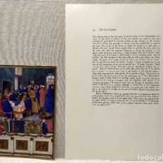 Arte: LA ULTIMA CENA, MINIATURA Nº 30 DE THE HOURS OF THE ETIENNE CHEVALIER JEAN FOUQUET. Lote 243843590