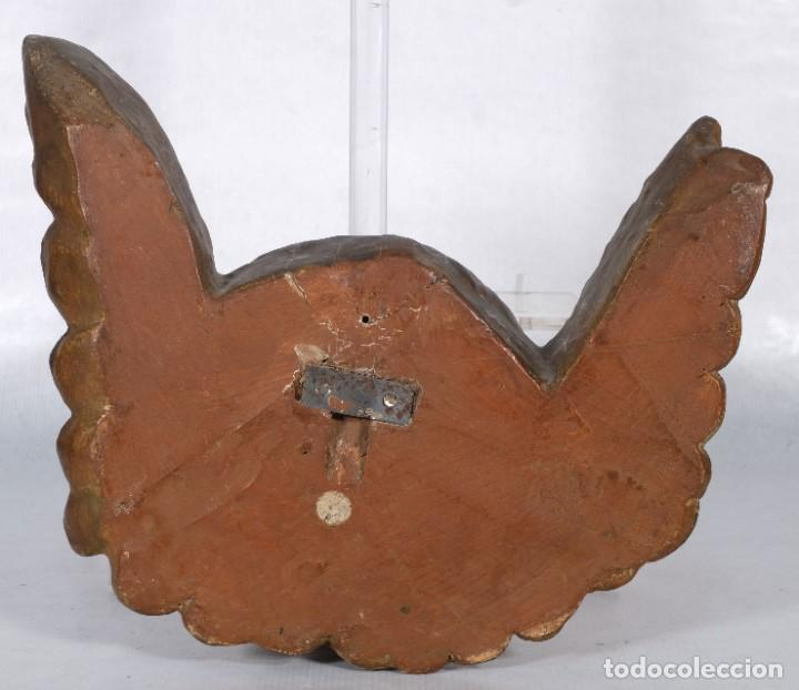 Arte: Cabezas de ángeles barrocos en madera tallada y policromada siglo XVII - Foto 5 - 243865660