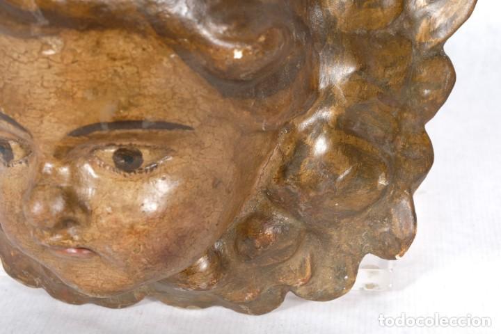 Arte: Cabezas de ángeles barrocos en madera tallada y policromada siglo XVII - Foto 9 - 243865660