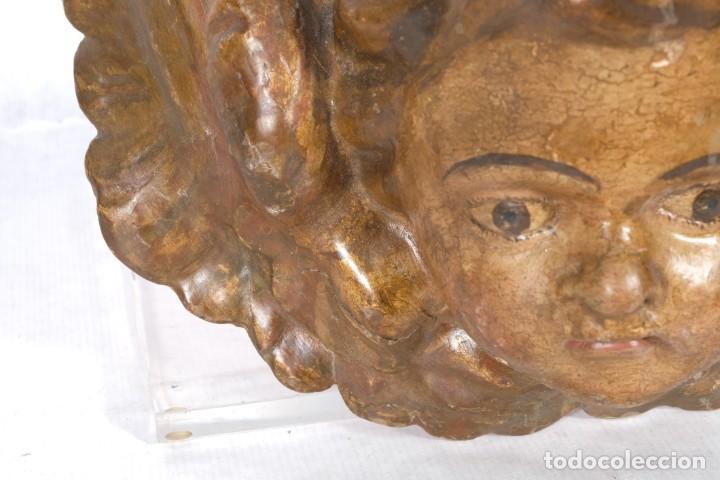 Arte: Cabezas de ángeles barrocos en madera tallada y policromada siglo XVII - Foto 10 - 243865660