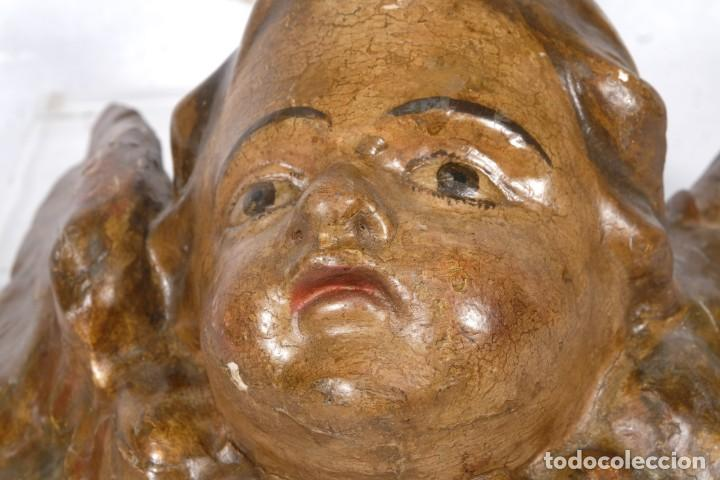 Arte: Cabezas de ángeles barrocos en madera tallada y policromada siglo XVII - Foto 11 - 243865660