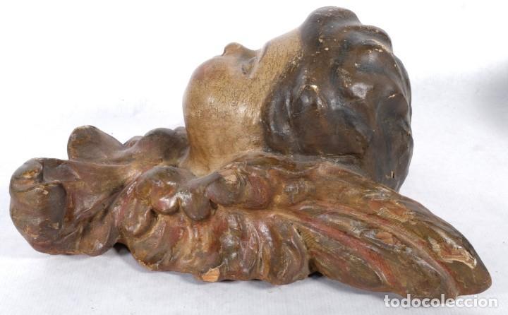 Arte: Cabezas de ángeles barrocos en madera tallada y policromada siglo XVII - Foto 18 - 243865660