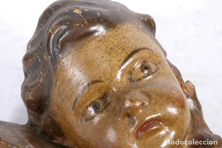 Arte: Cabezas de ángeles barrocos en madera tallada y policromada siglo XVII - Foto 19 - 243865660