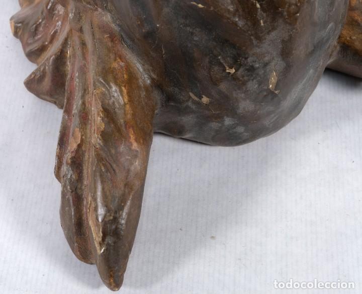 Arte: Cabezas de ángeles barrocos en madera tallada y policromada siglo XVII - Foto 23 - 243865660