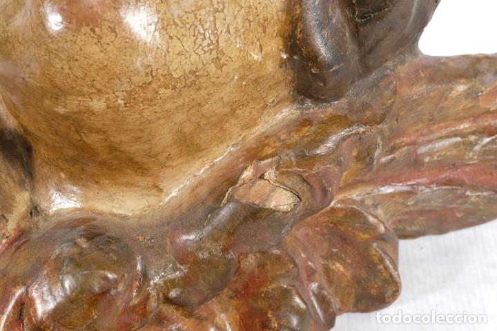 Arte: Cabezas de ángeles barrocos en madera tallada y policromada siglo XVII - Foto 25 - 243865660
