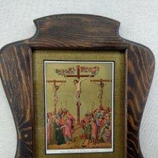 Arte: JESUS CRUCIFICADO ENTRE DOS LADRONES, DE DUCCIO, CROMOLITOGRAFIA DE THURWANGER 1875, CUADRO. Lote 243887630