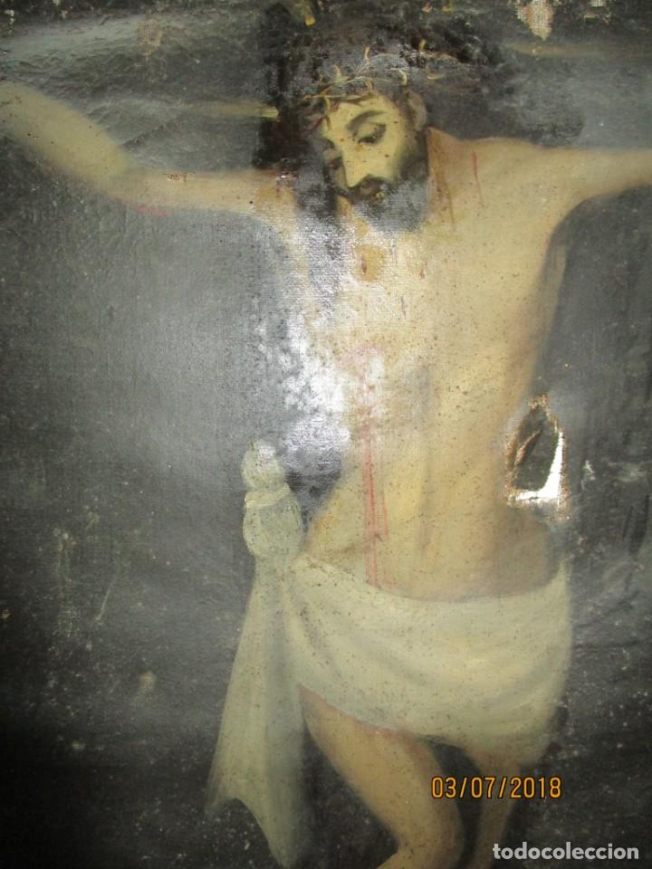 Arte: PINTURA RELIGIOSA ANTIGUA cristo oleo ESCUELA CASTELLANA NECESITA RESTAURACION - Foto 22 - 202860090