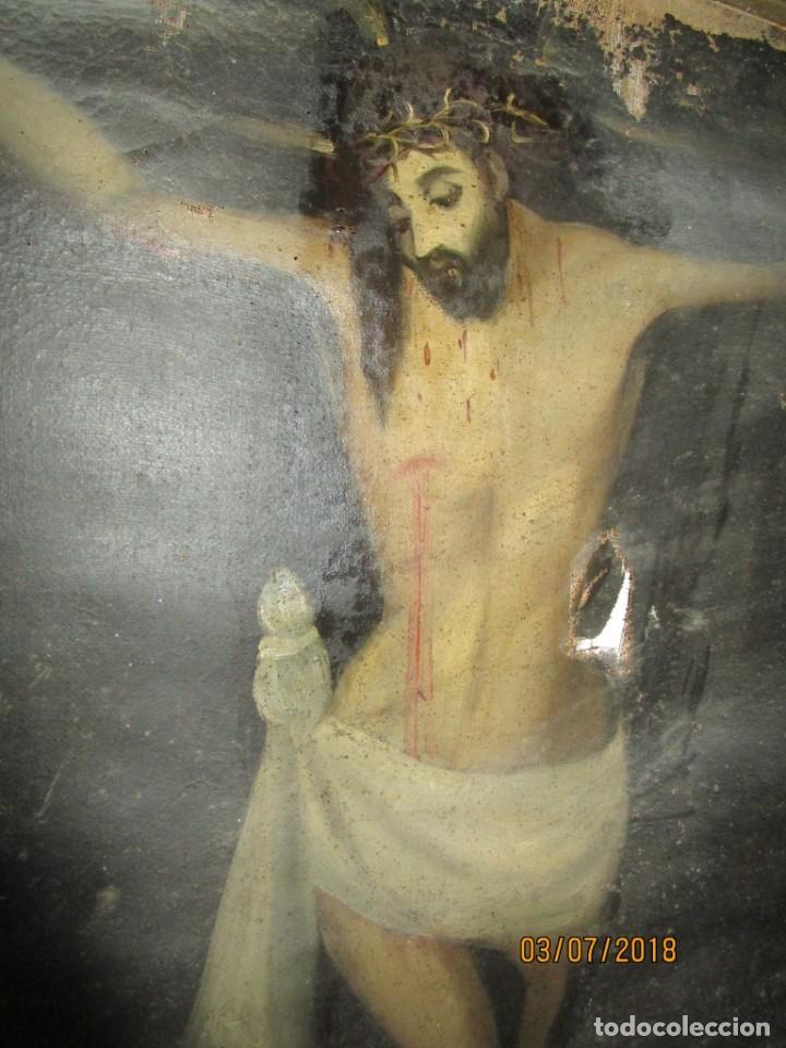 Arte: PINTURA RELIGIOSA ANTIGUA cristo oleo ESCUELA CASTELLANA NECESITA RESTAURACION - Foto 11 - 202860090