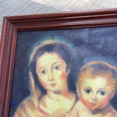 Arte: PLEO SOBRE TELA VIRGEN Y NIÑO JESÚS COPIA DE MURILLO. Lote 244025190