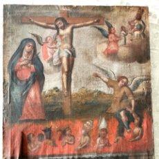 Arte: ESCUELA COLONIAL, S. XVIII CRISTO Y ÁNIMAS DEL PURGATORIO. Lote 244182155
