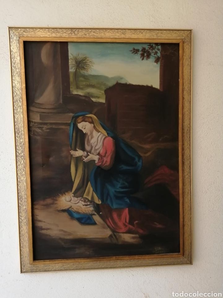 Arte: Precioso cuadro religioso antiguo virgen con niño pintado sobre tela firmado imitació Antonio llegri - Foto 2 - 244184020