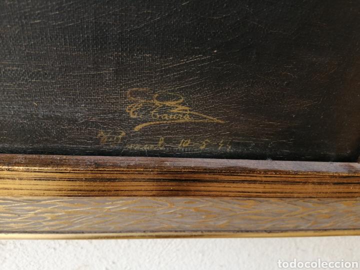 Arte: Precioso cuadro religioso antiguo virgen con niño pintado sobre tela firmado imitació Antonio llegri - Foto 3 - 244184020
