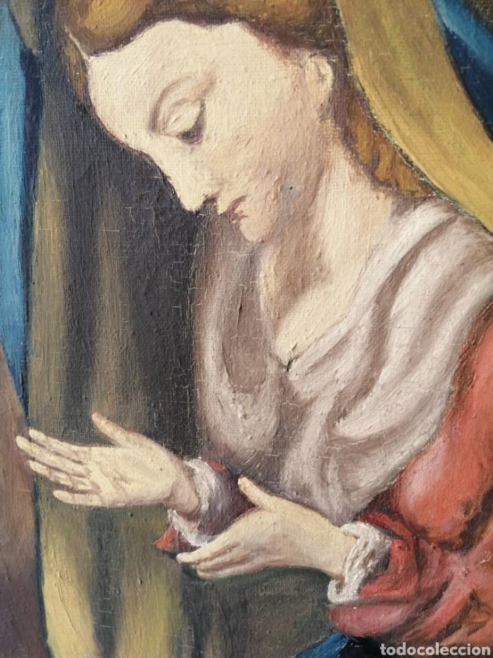 Arte: Precioso cuadro religioso antiguo virgen con niño pintado sobre tela firmado imitació Antonio llegri - Foto 4 - 244184020