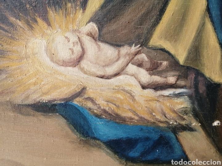 Arte: Precioso cuadro religioso antiguo virgen con niño pintado sobre tela firmado imitació Antonio llegri - Foto 5 - 244184020
