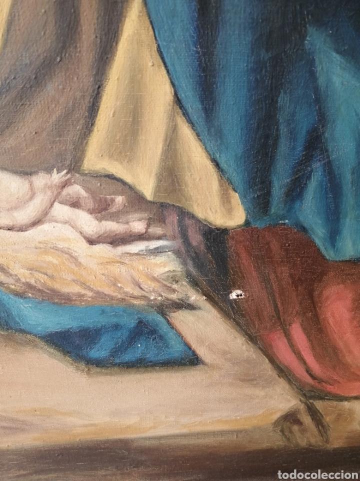 Arte: Precioso cuadro religioso antiguo virgen con niño pintado sobre tela firmado imitació Antonio llegri - Foto 8 - 244184020