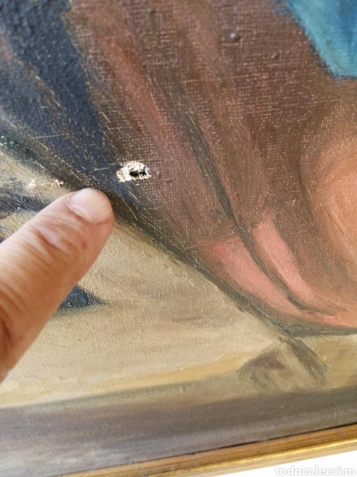 Arte: Precioso cuadro religioso antiguo virgen con niño pintado sobre tela firmado imitació Antonio llegri - Foto 12 - 244184020