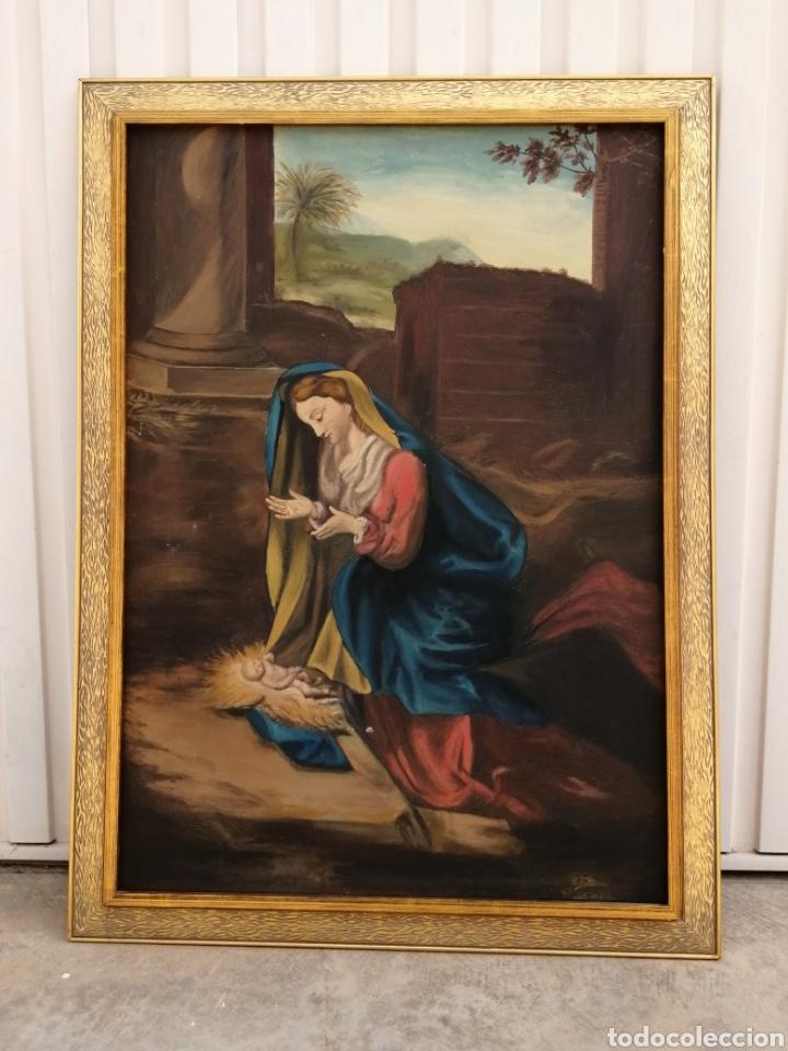 PRECIOSO CUADRO RELIGIOSO ANTIGUO VIRGEN CON NIÑO PINTADO SOBRE TELA FIRMADO IMITACIÓ ANTONIO LLEGRI (Arte - Arte Religioso - Pintura Religiosa - Oleo)