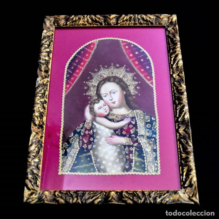 Arte: Espléndido cuadro de pintura cuzqueña con remate en hilo de oro - Foto 2 - 244230975