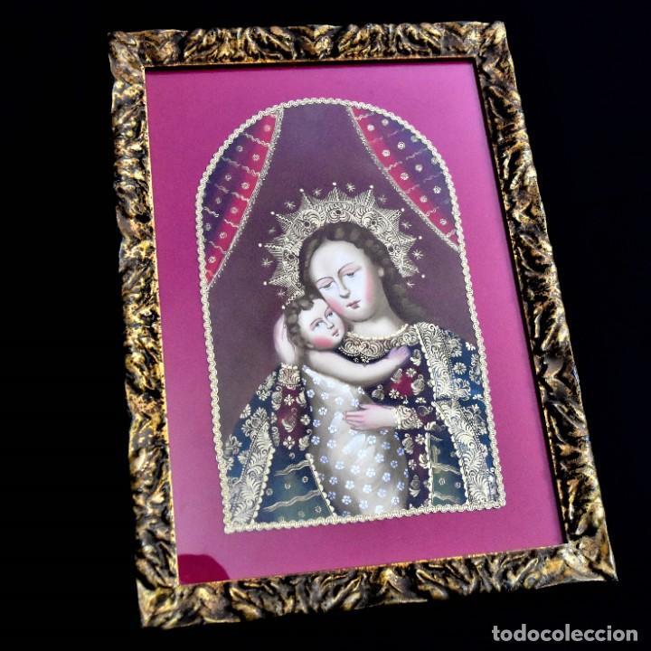 Arte: Espléndido cuadro de pintura cuzqueña con remate en hilo de oro - Foto 3 - 244230975