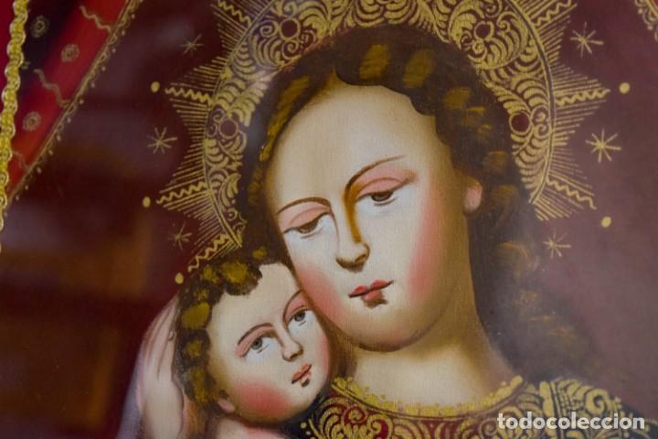 Arte: Espléndido cuadro de pintura cuzqueña con remate en hilo de oro - Foto 5 - 244230975