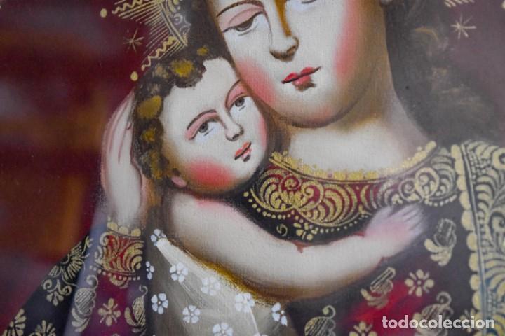 Arte: Espléndido cuadro de pintura cuzqueña con remate en hilo de oro - Foto 12 - 244230975